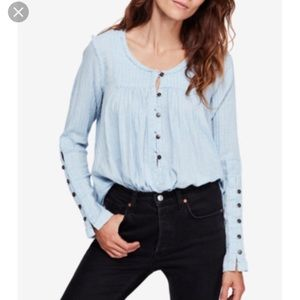 Free People Blouse , Sand Dune Cotton Textured NWT